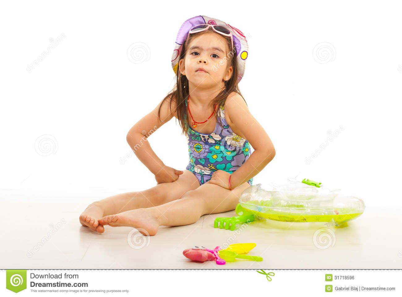 Beach Toys For Girls : Beach kid girl with toys royalty free stock image