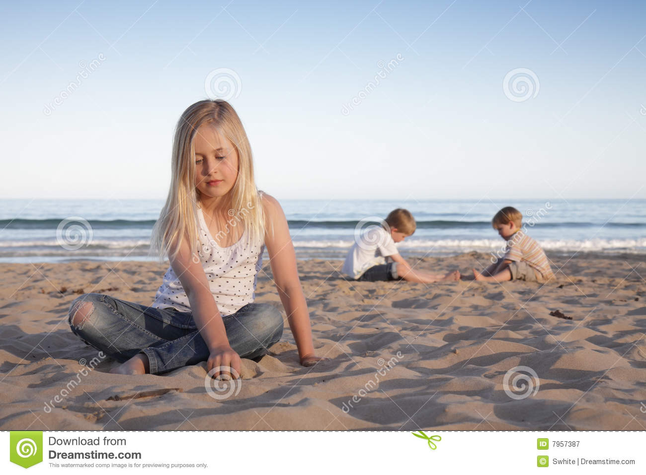 Beach Kids Stock Image Of Ocean Outside Touch