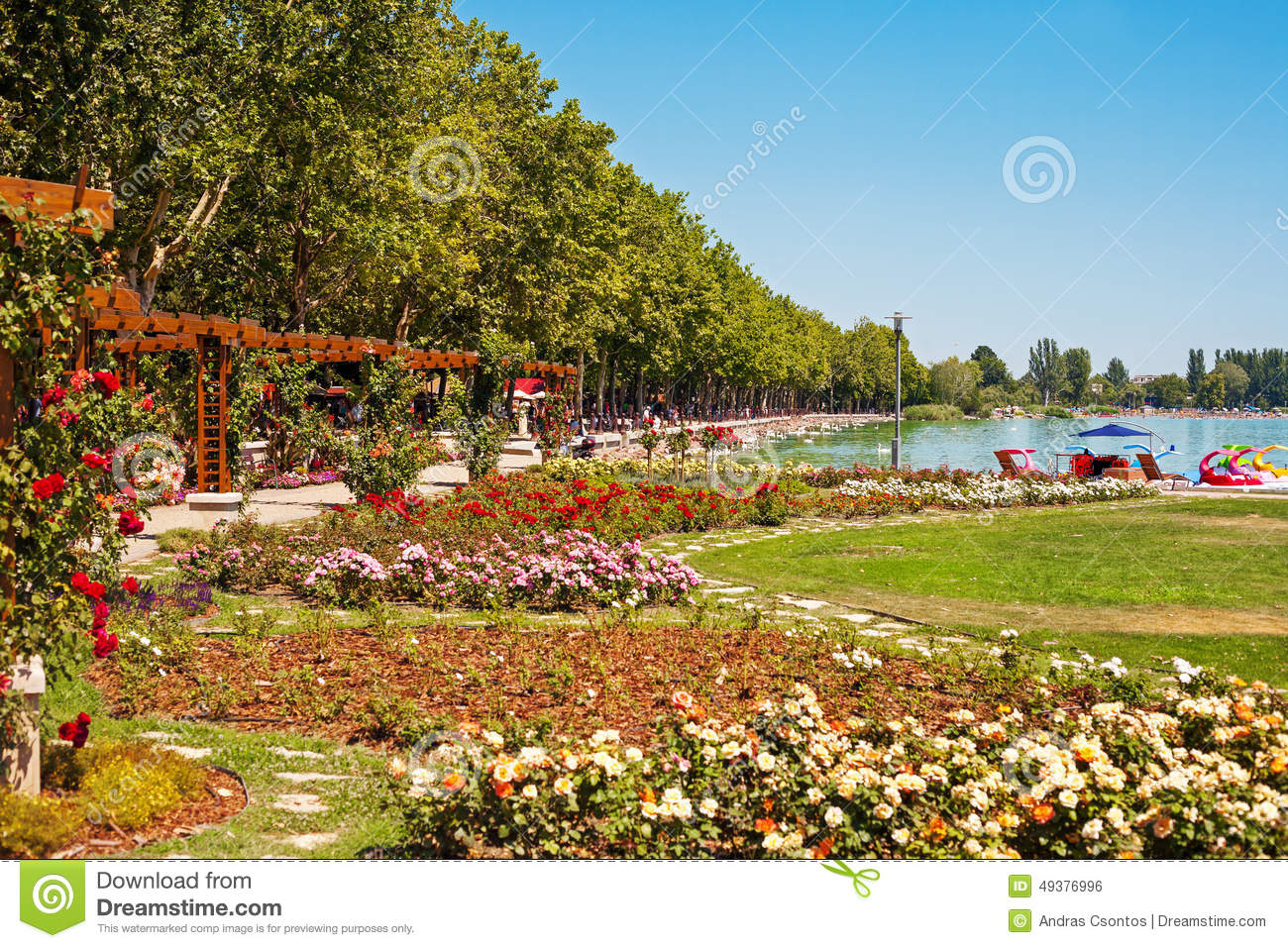 Balatonfured Hungary  City new picture : Lake Balaton beach and flower garden at Balatonfured, Hungary.