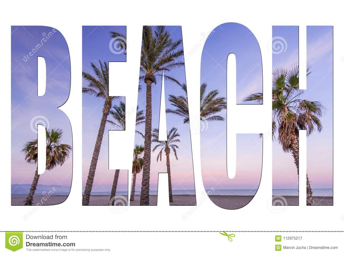 Beach letters isolated, post card template