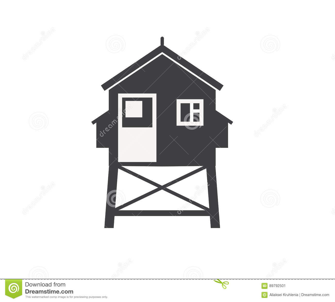 Hut House Logo: Beach Life Guard House Icon Stock Vector