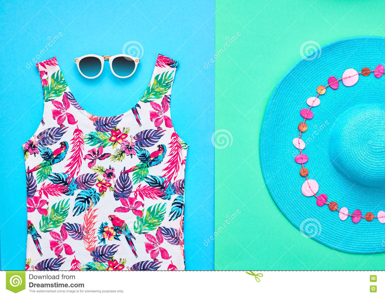 7870e3617f94 Beach Minimal Style. Summer Hipster Clothes Set Stock Photo - Image ...