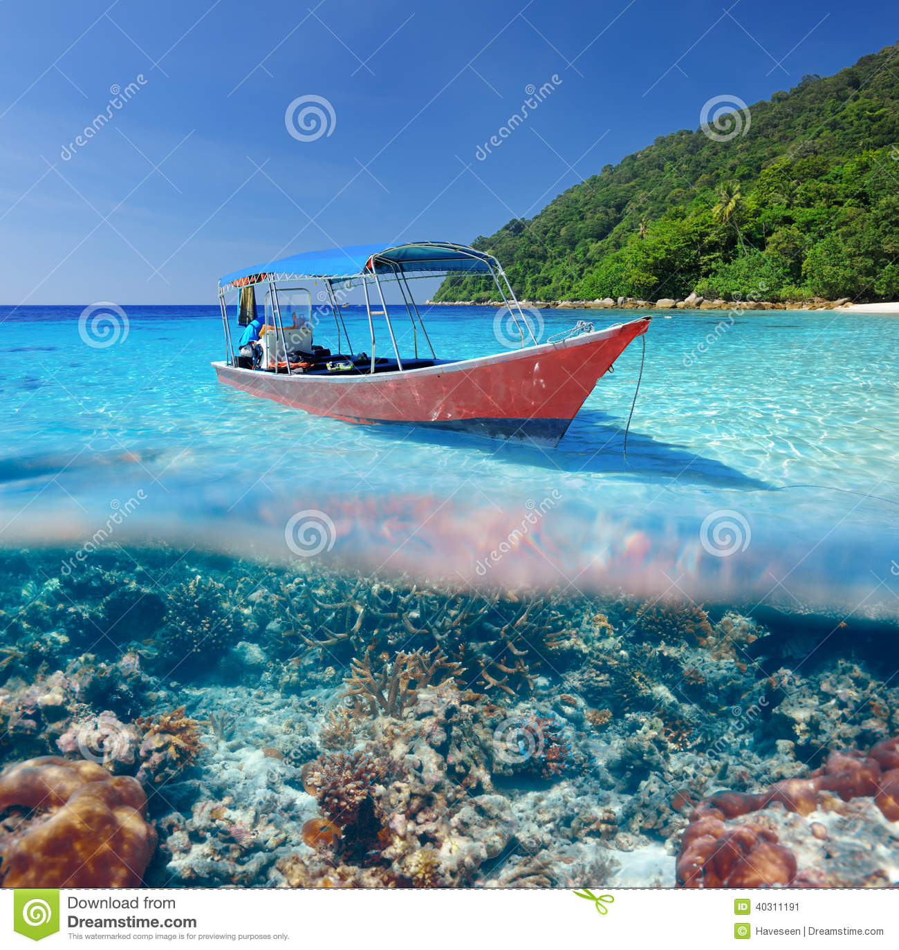 Beach And Motor Boat With Coral Reef Underwater View Stock