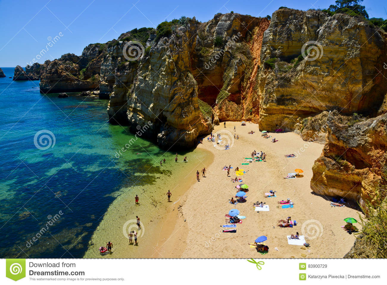Beach Near Armacao De Pera, Algarve, Portugal Stock Image ...
