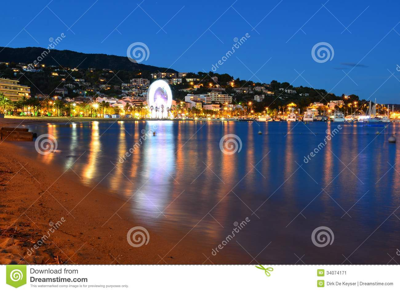 Beach at night in le lavandou var cote d azur provence, France