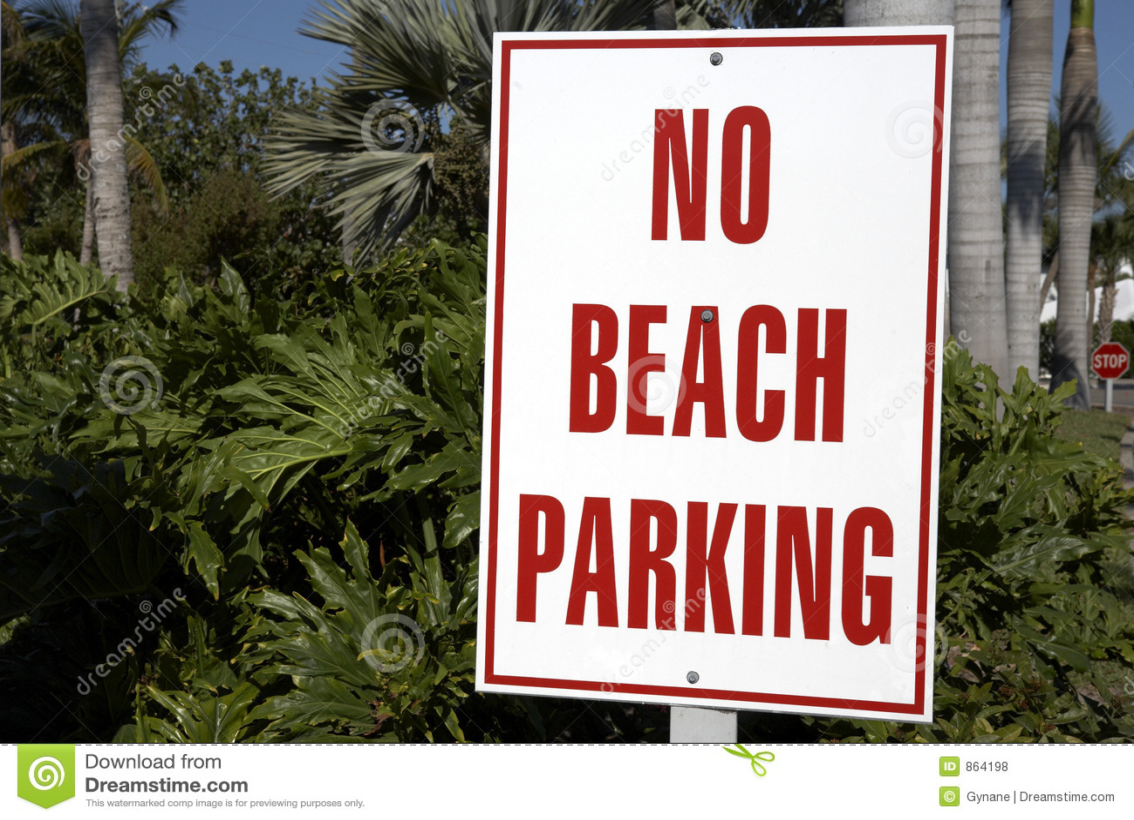 Beach no parking sign