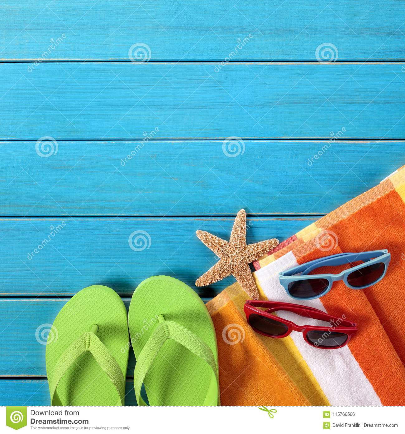 ebcc02f4e171d Beach Objects Flipflops Sunglasses Blue Wood Background Stock Photo ...