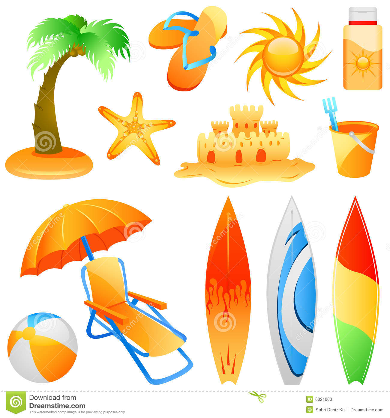 Beach Objects Vector Stock Photo Image 6021000