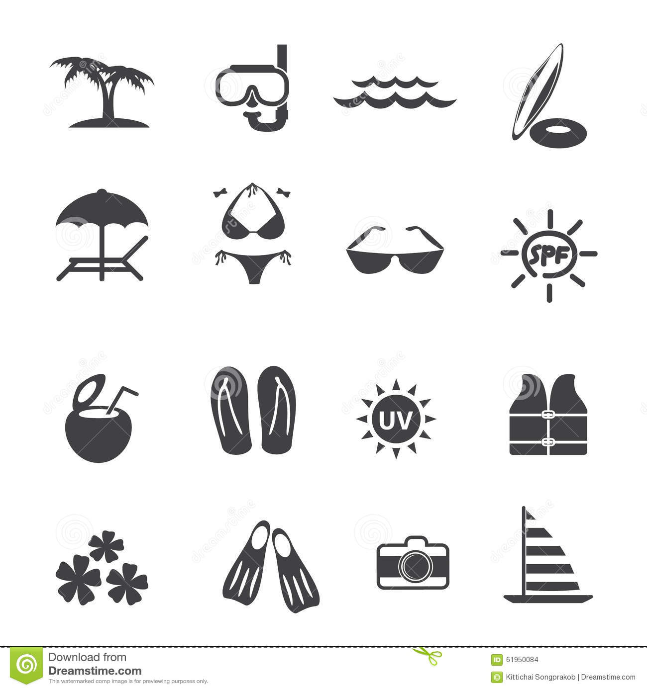 Beach chair and parasol vector illustration stock vector image - Beach Outdoor Activity Icons Set Stock Vector Image