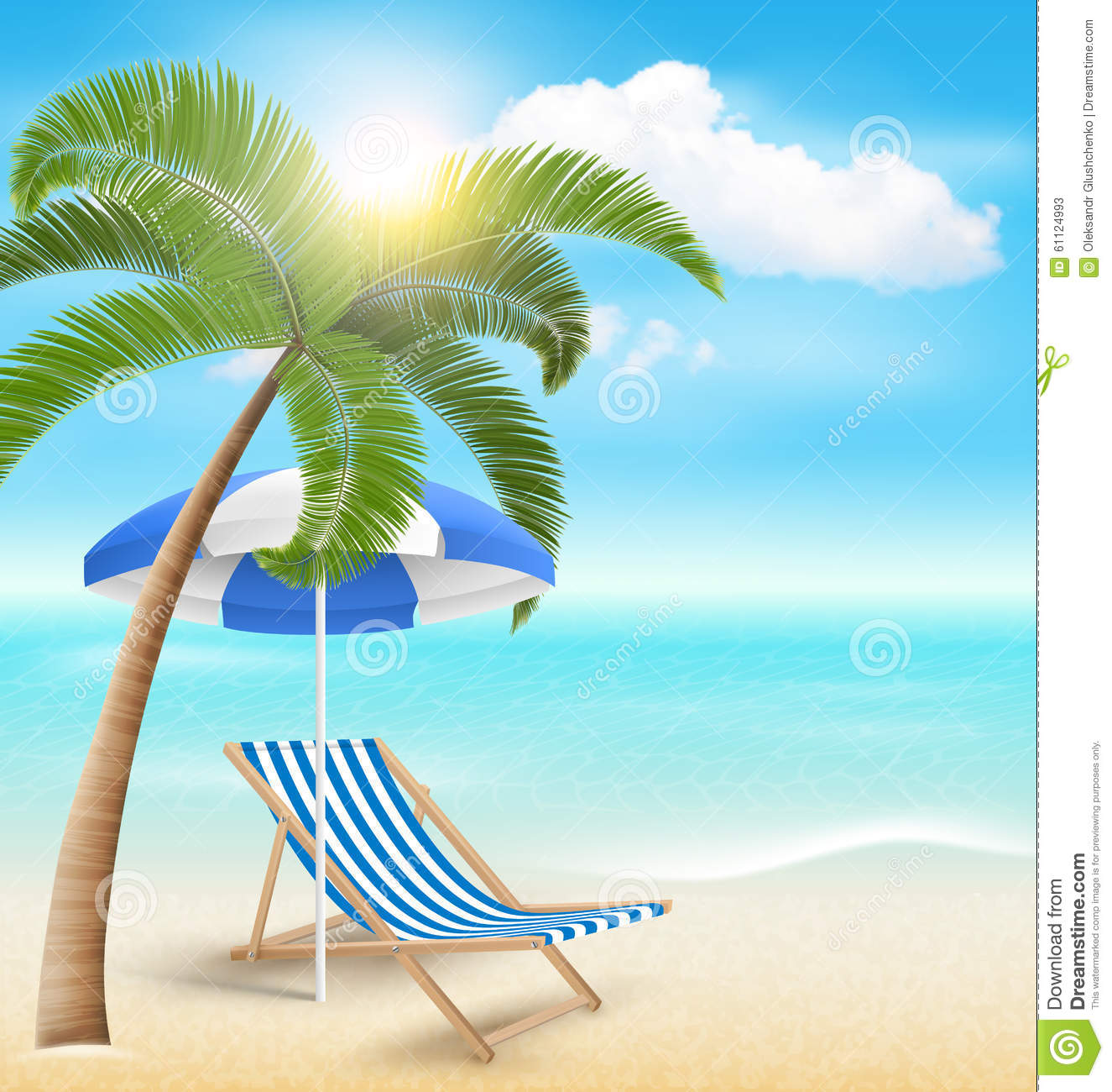 Beach With Palm Clouds Sun Beach Umbrella And Beach Chair