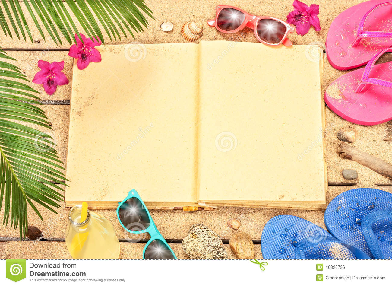 ... Book, Sand, Sunglasses And Flip Flops Stock Photo - Image: 40826736