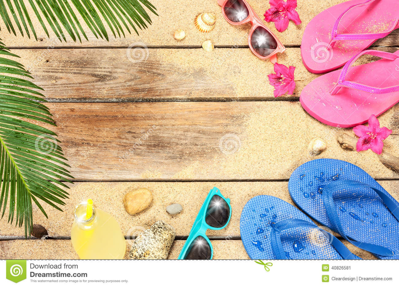 00653d7e4 Summer holiday (vacation) tropical beach background layout with free text  space. Palm tree leaves