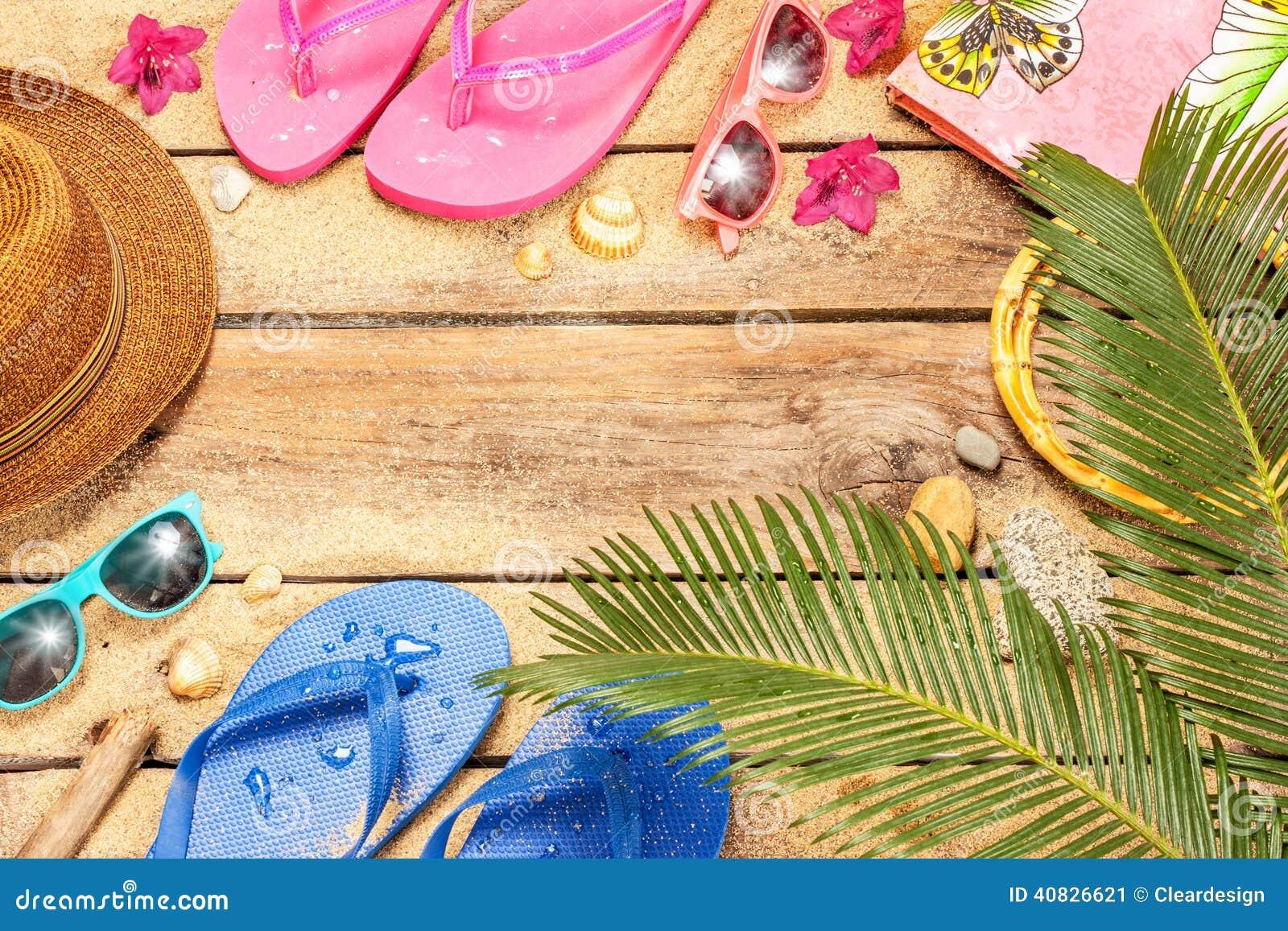 beach  palm tree leaves  sand  sunglasses and flip stock