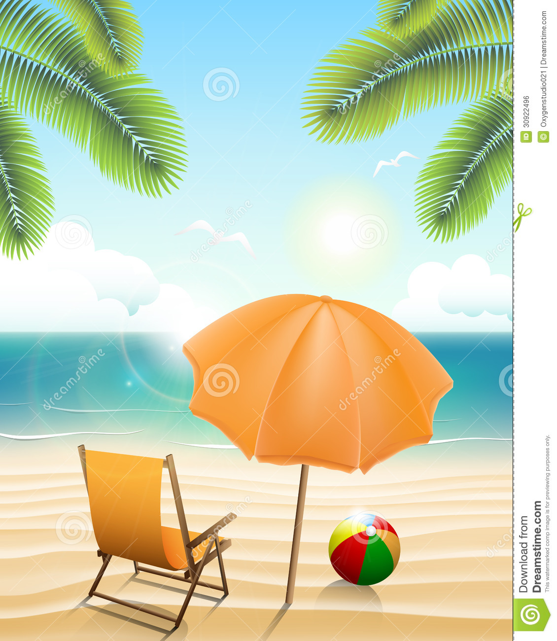 Beach chair and parasol vector illustration stock vector image - Beach With Parasol Chair Ball And Palm Trees Royalty
