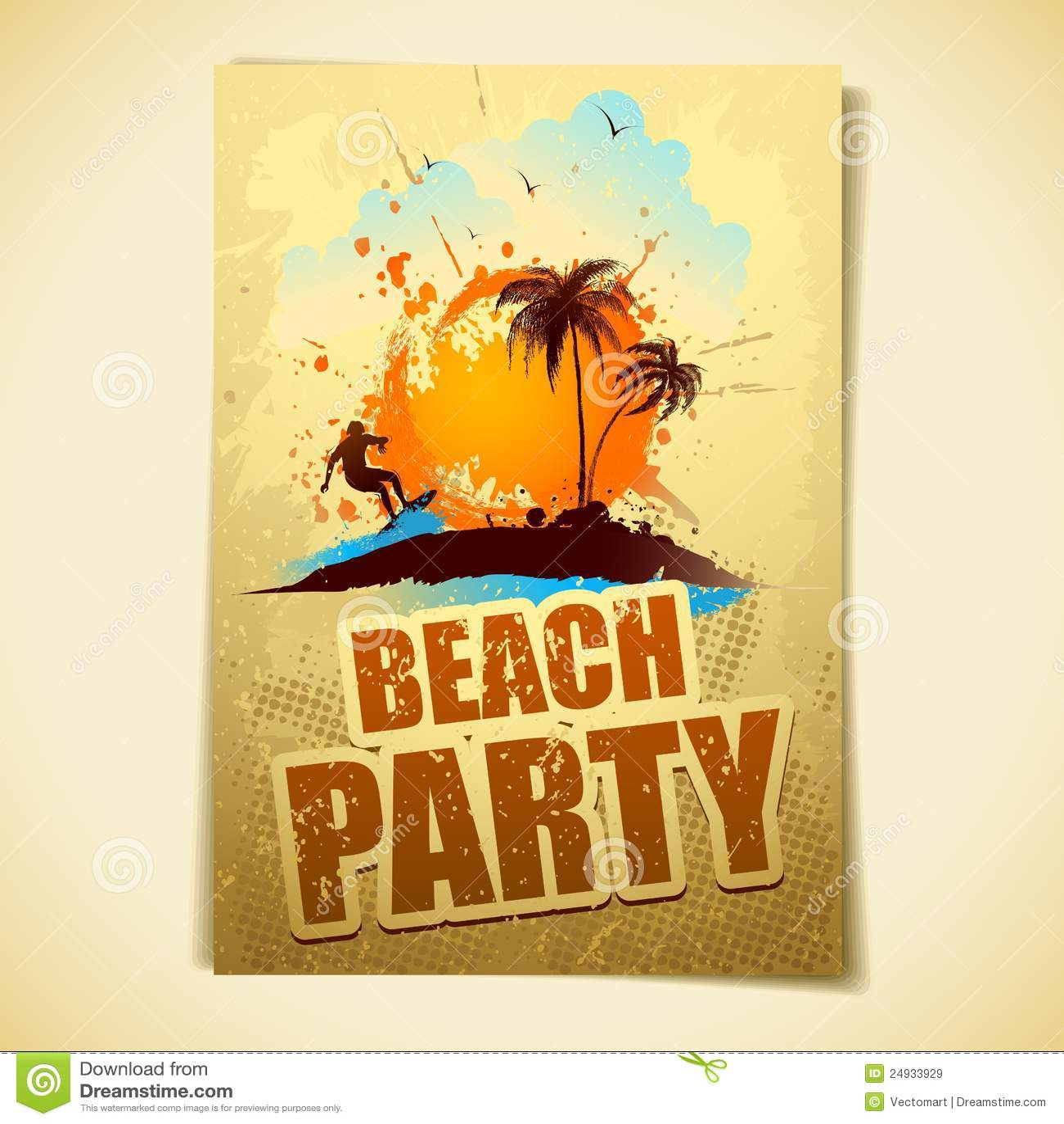 Retro Beach Illustration Royalty Free Stock Photo: Beach Party Stock Vector. Illustration Of Graphic
