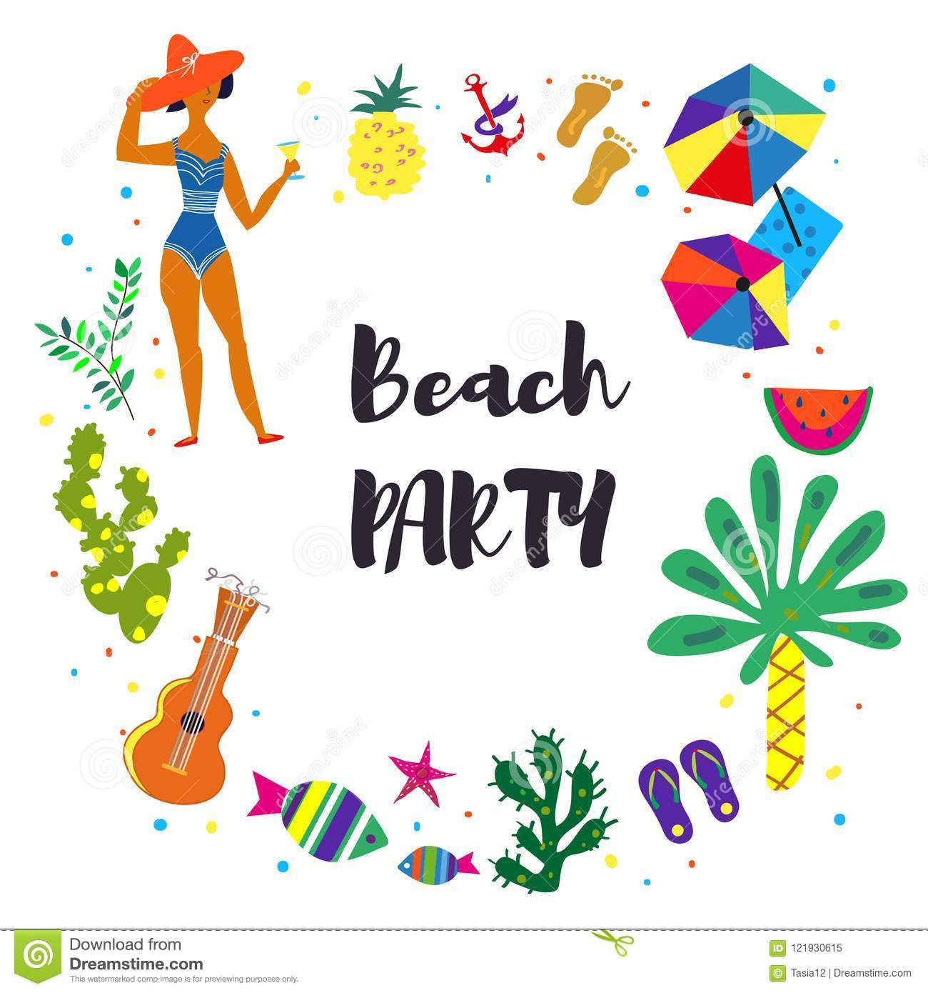 Beach Party Background For The Card Or Invitation. Vector ...