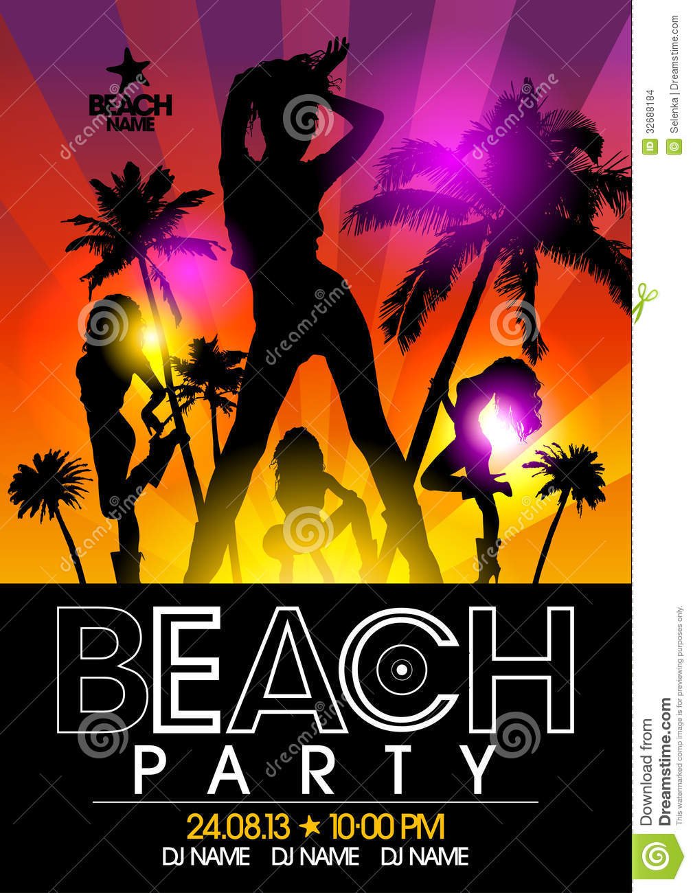 Beach Party Design Template Stock Images - Image: 32688184