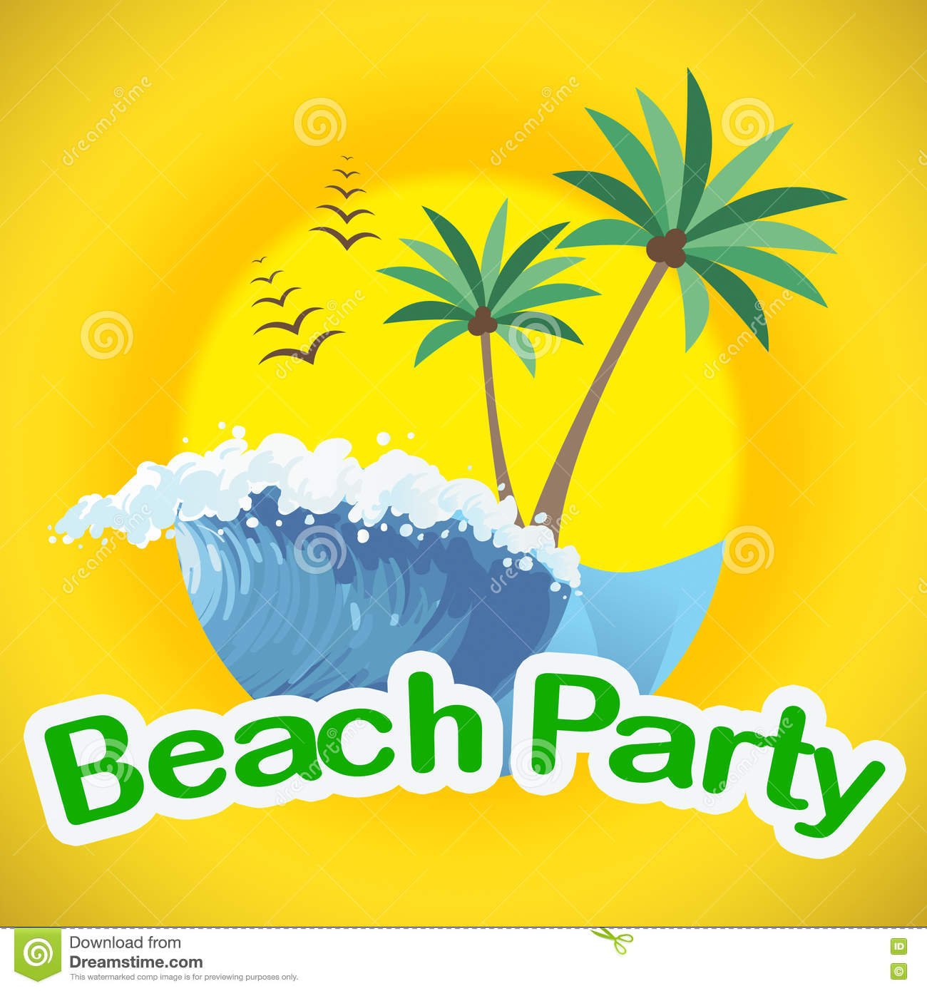 Beach Party Indicates Summer Time And Beaches