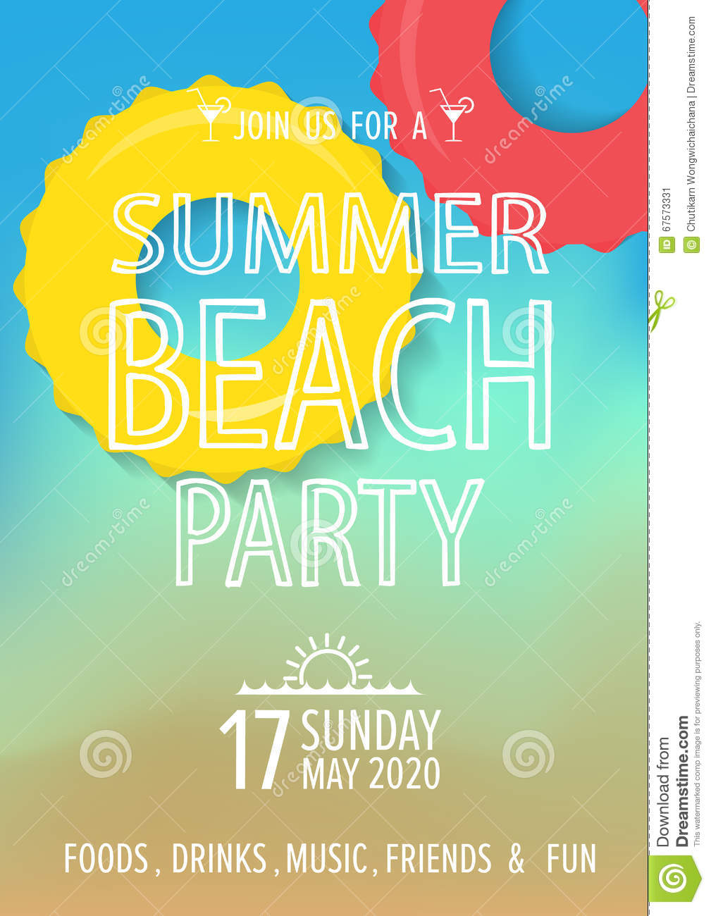 beach party invitation background. vector stock vector - image, Party invitations