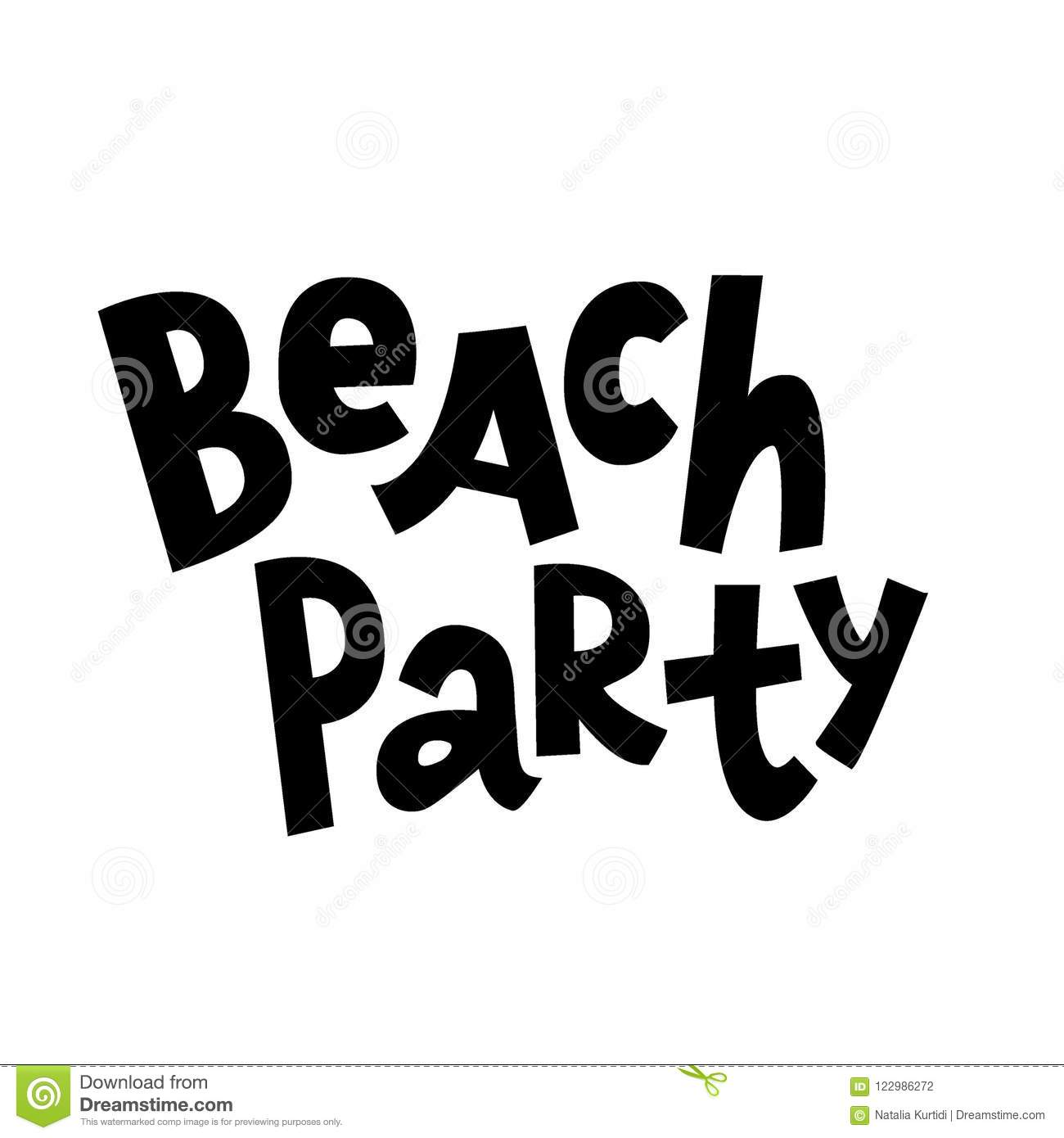 beach party lettering comic style stock vector illustration of
