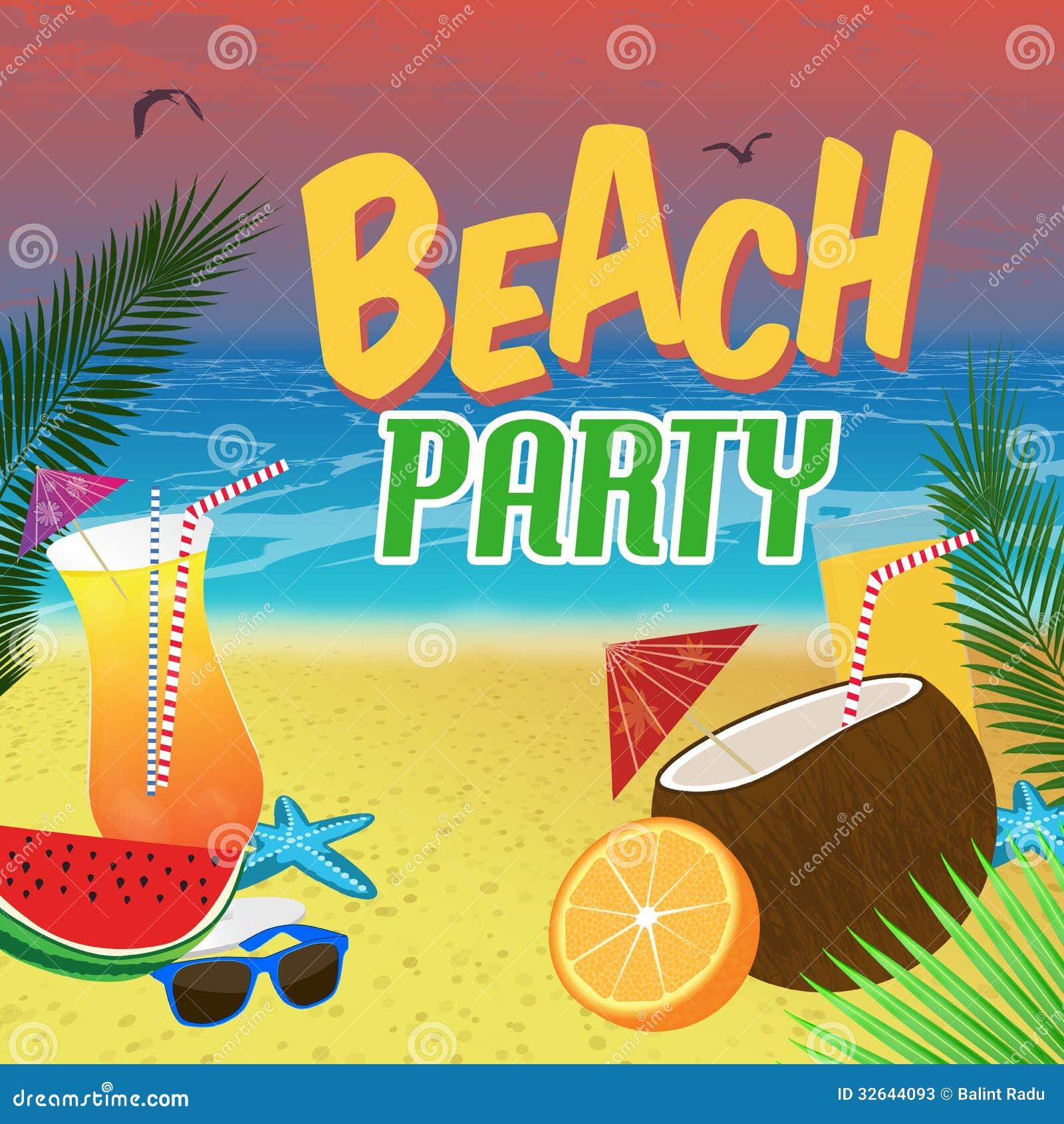 Beach Party Poster Stock Photos Image 32644093