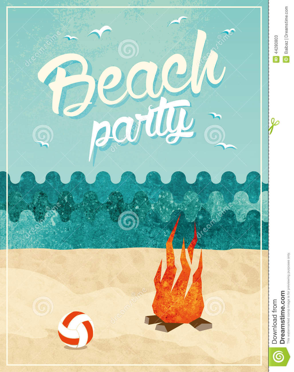 beach party poster stock illustration  image of coastline