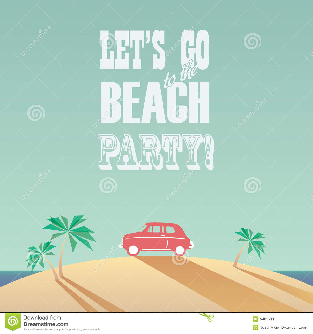 Beach Party Poster With Vintage Typography. Modern Stock ...