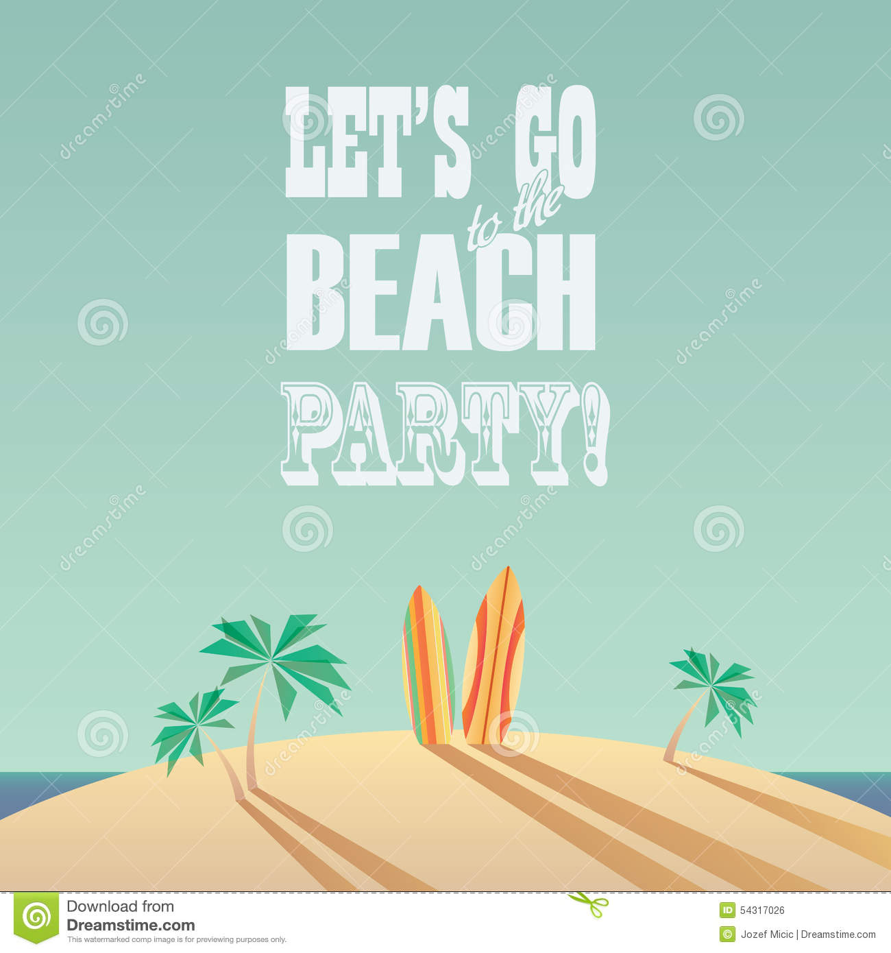 Beach Party Poster With Vintage Typography Modern Stock Vector