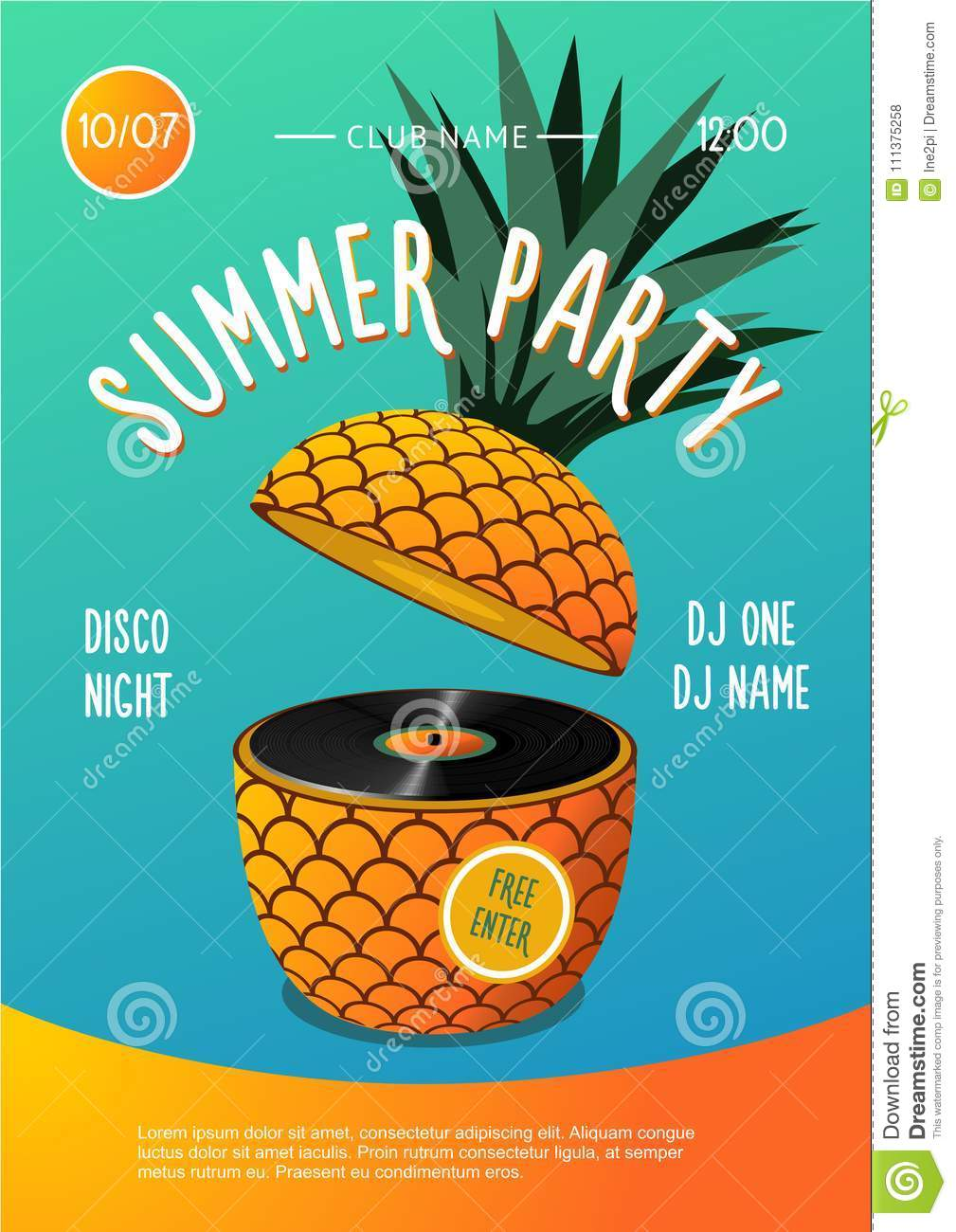 Beach Party. Summer Music Festival. Poster With Pineapple