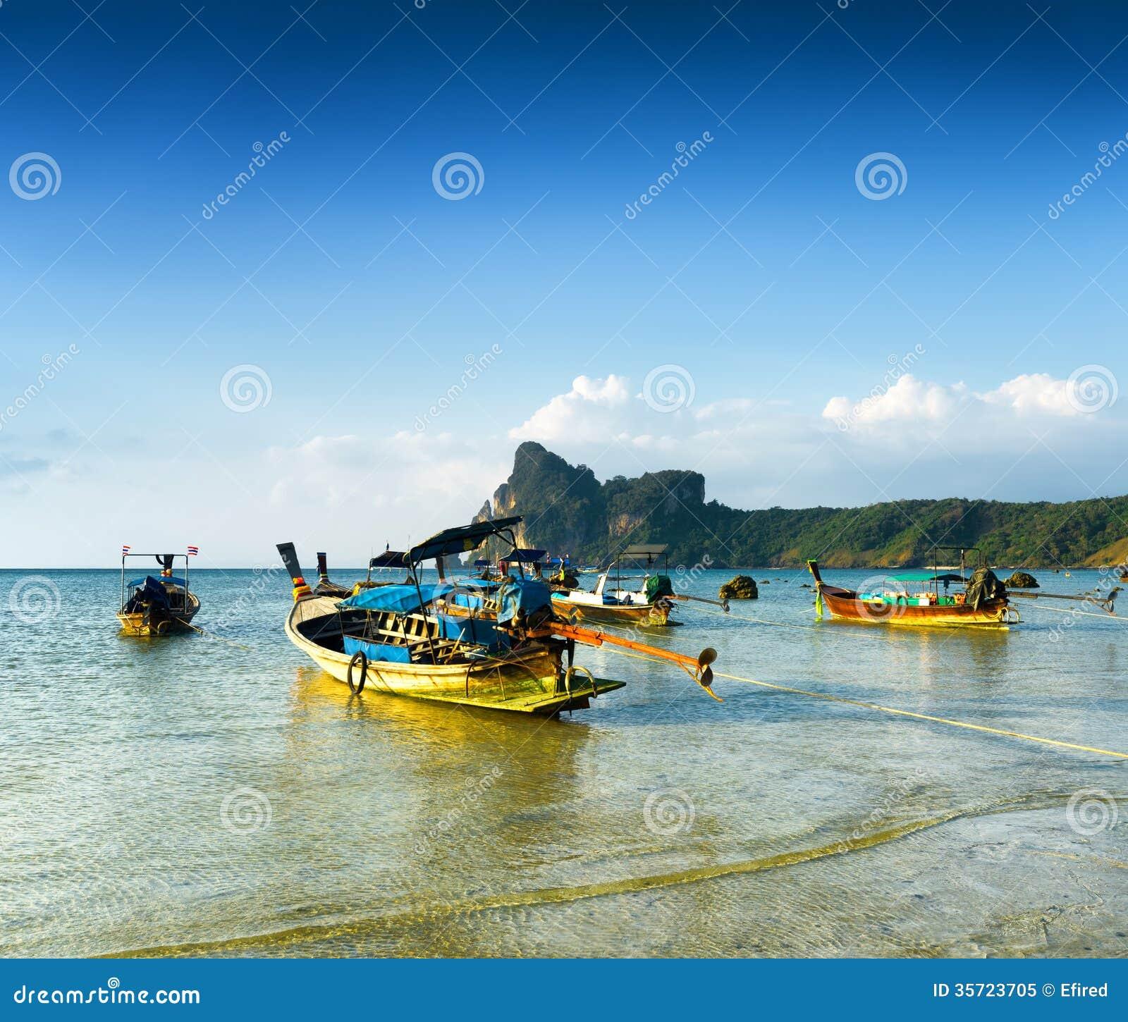 Phi Phi Beach: Beach Of Phi Phi Island, Thailand. Stock Image