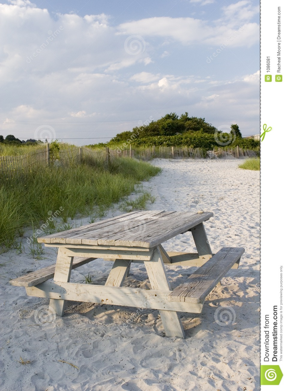 Beach Picnic Table Stock Image - Image: 1086081