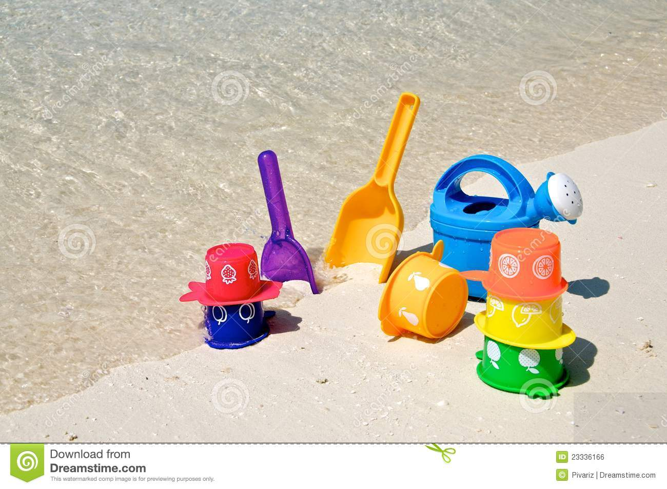 Toys At Play : Beach play toys at the stock photo image