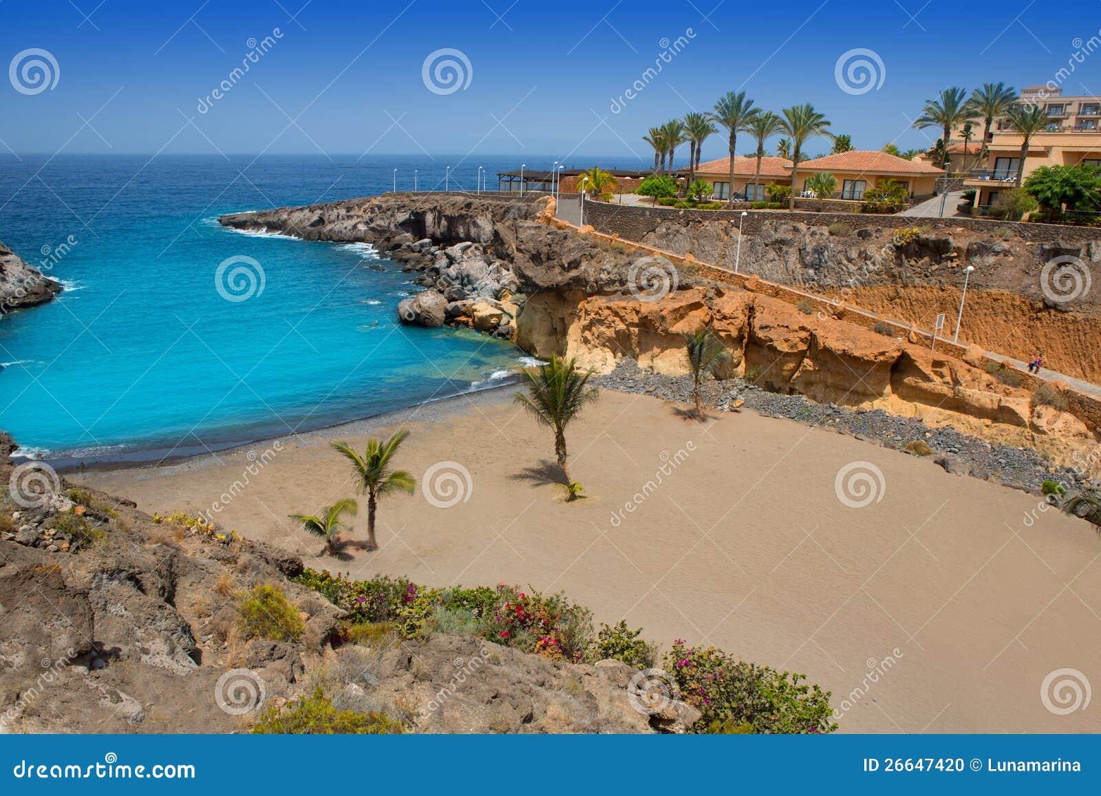 Beach Playa Paraiso Costa Adeje In Tenerife Stock Photo - Image ...