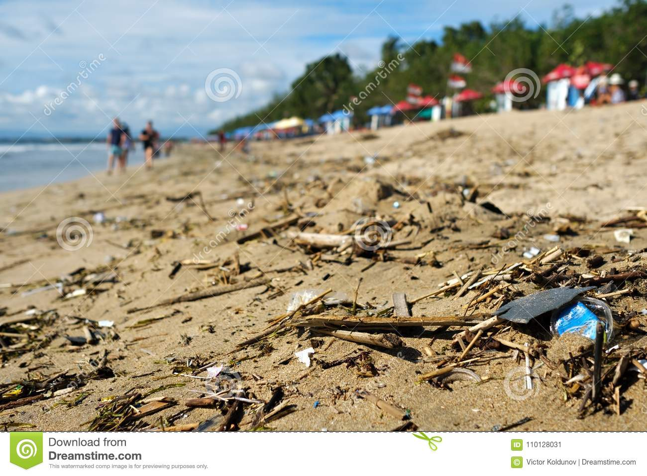 Beach Pollution In Bali Indonesia Stock Image Image Of Disaster