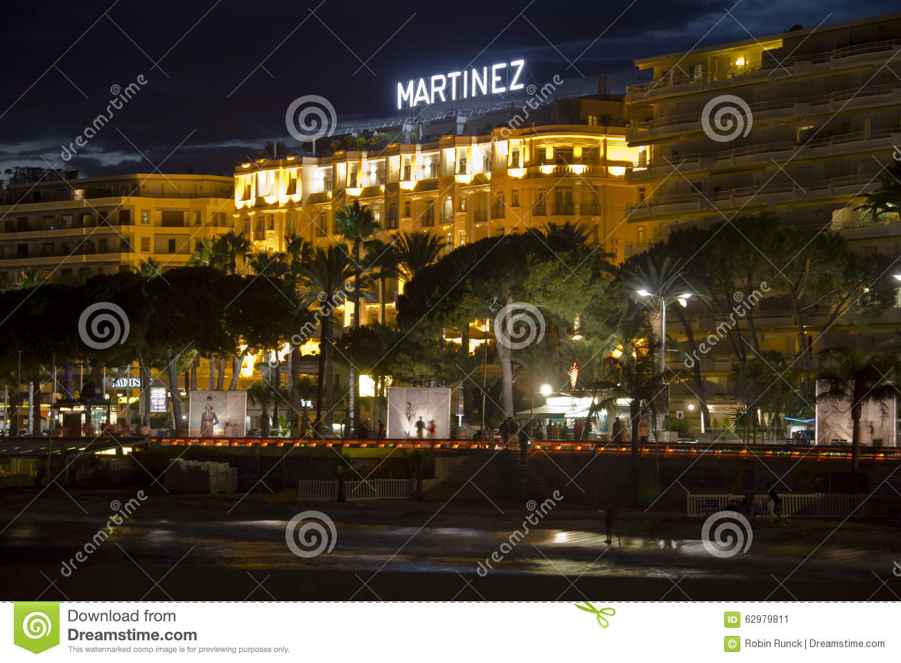 the beach promenade of cannes at night editorial image 62979680. Black Bedroom Furniture Sets. Home Design Ideas