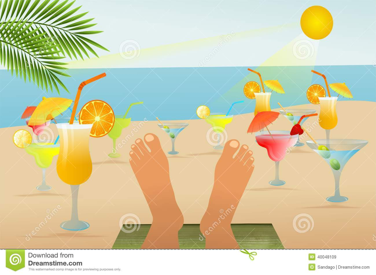 Beach Relaxation And Drinks Stock Vector Image 40048109