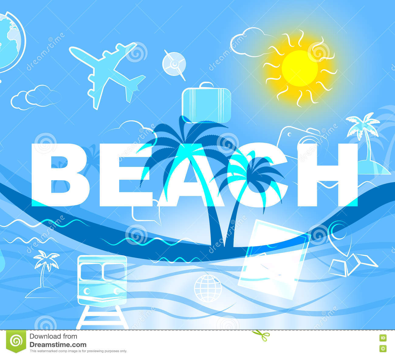 Beach Resort Means Ocean Beaches And Holiday