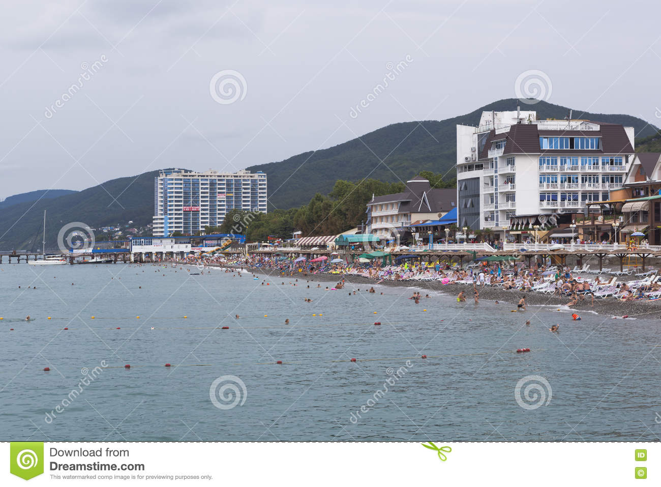 Beach In Resort Settlement Lasarevskoye In Cloudy Weather Sochi Russia Editorial Image Image Of Sochi Mountains 77601740