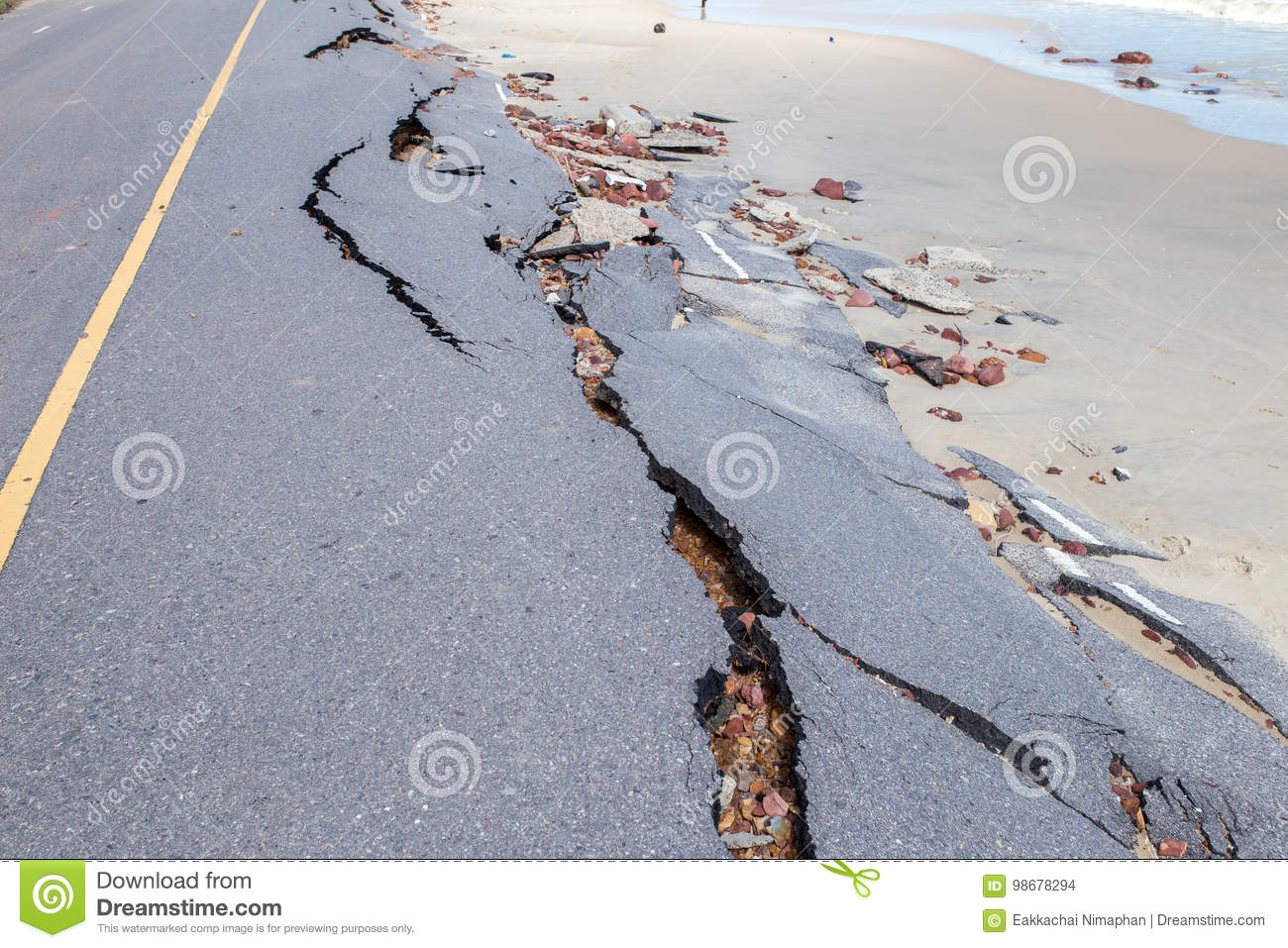 Beach Road slide along the beach to water erosion