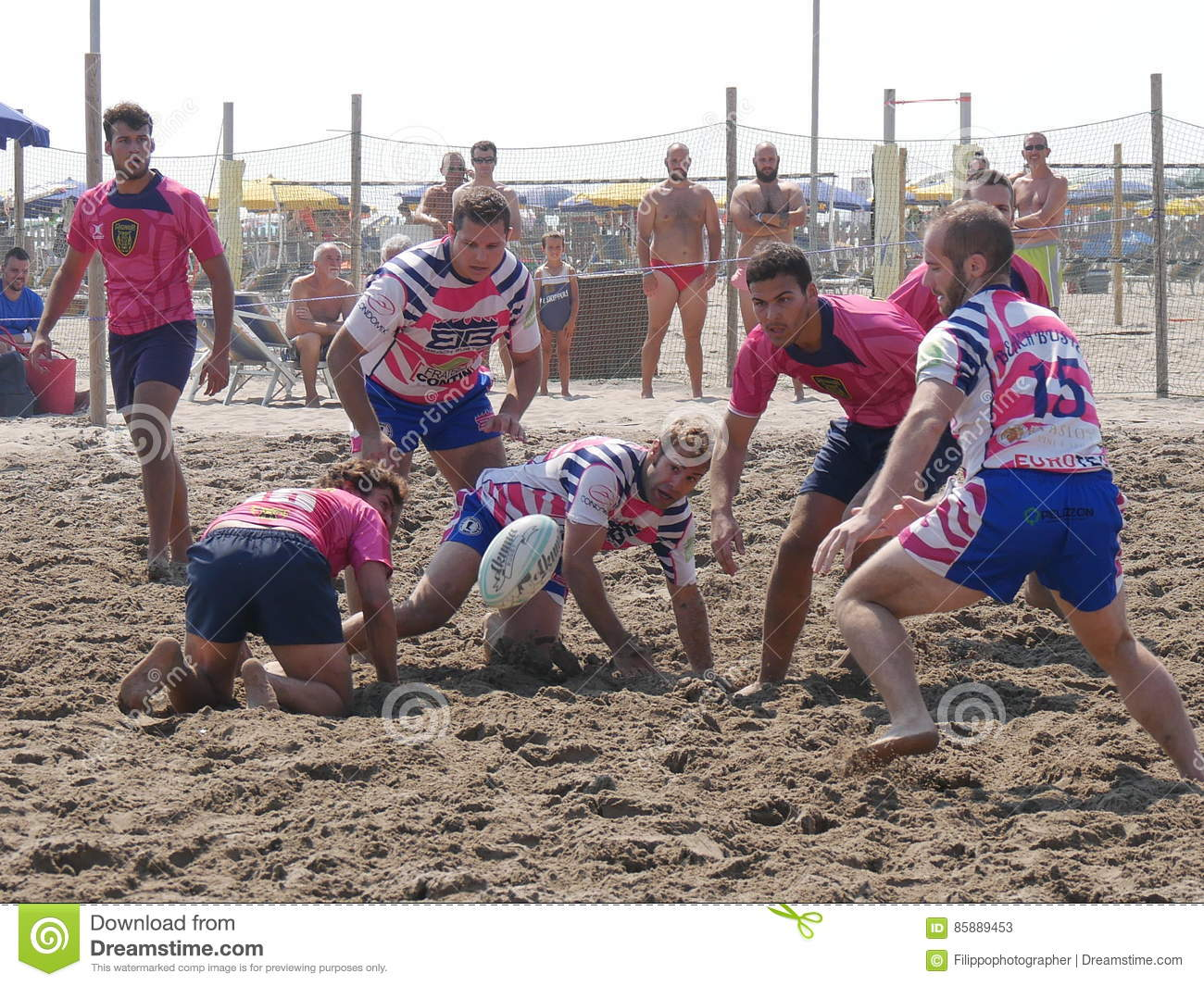 Beach rugby rosolina beach busters team editorial stock
