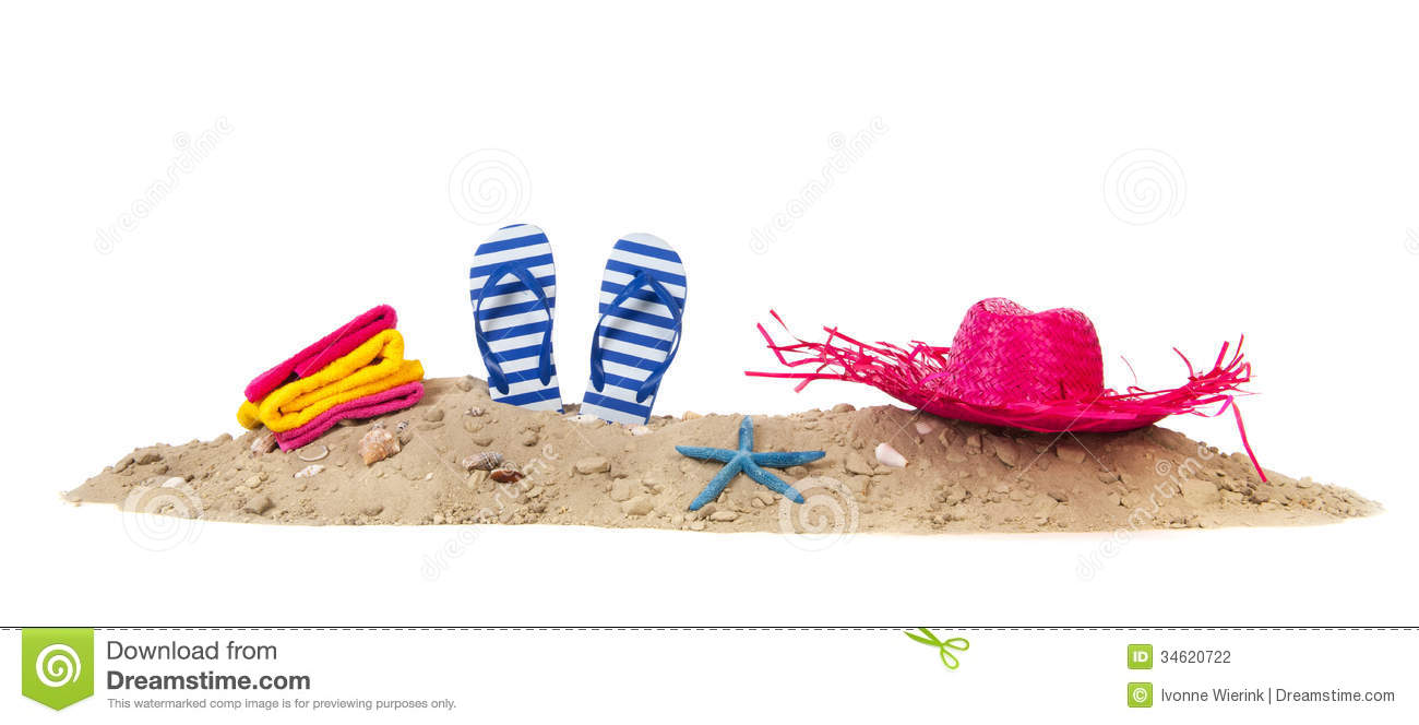Beach Sand With Towels Flip Flops And Hat Stock ... Relaxing Nature Sounds