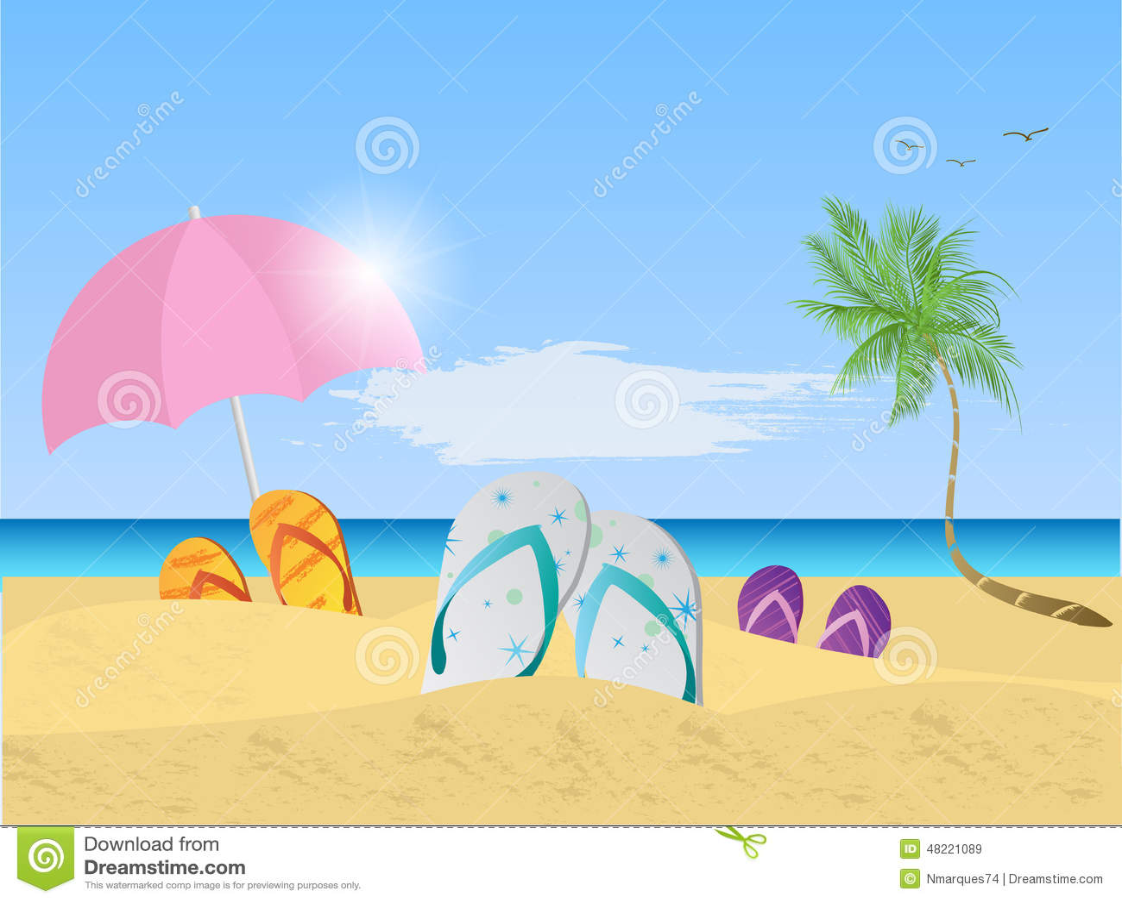 Beach Scene Illustration stock vector. Image of sandals ...