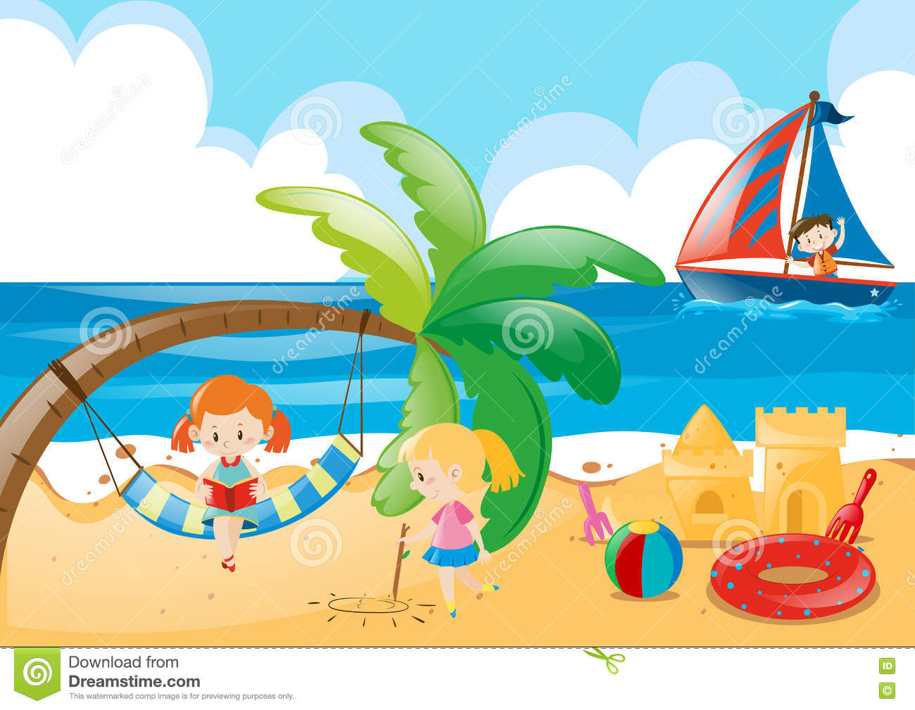 beach scene with kids playing stock vector illustration of holiday rh dreamstime com beach scene clipart vector beach scene clipart vector