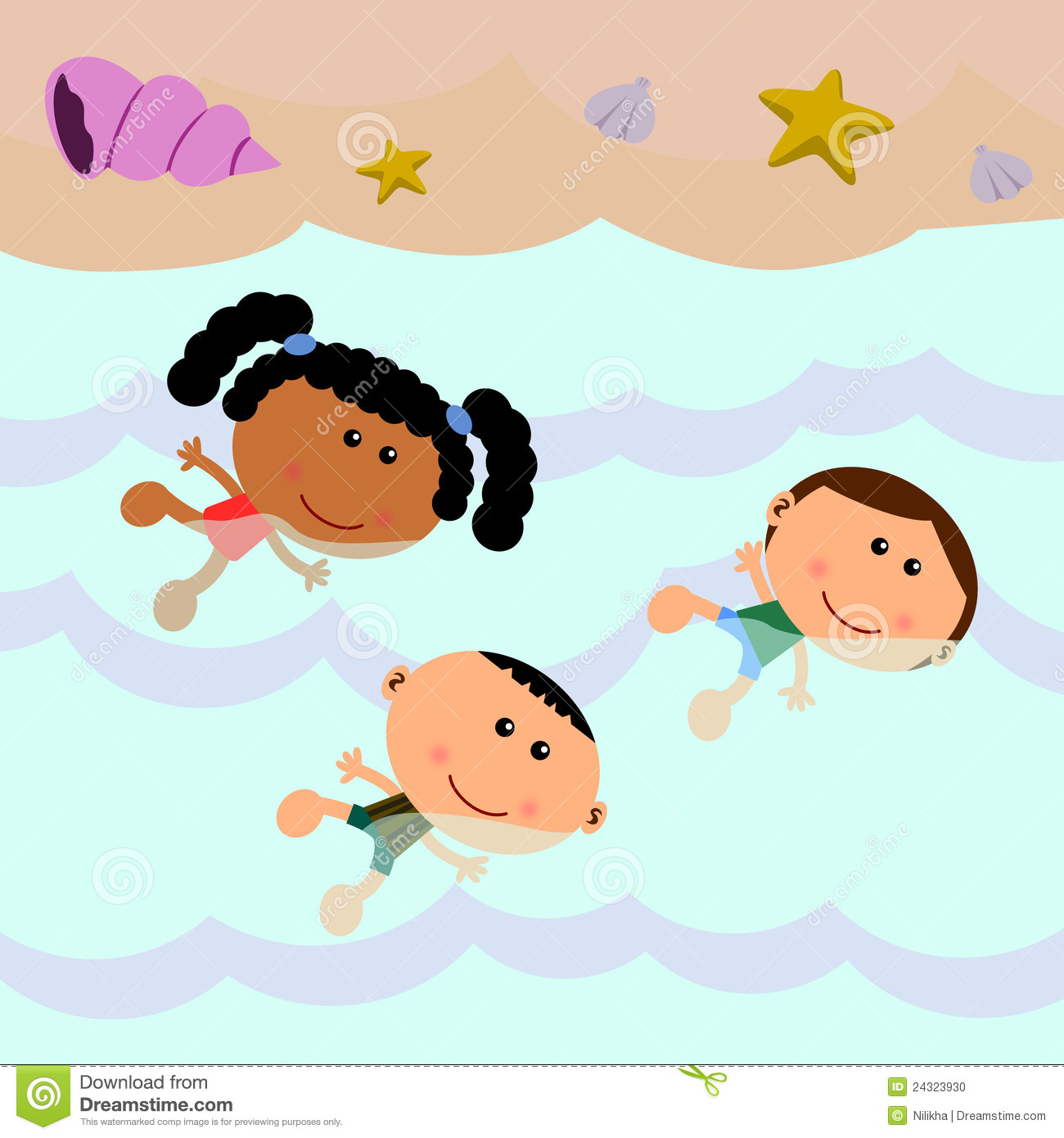 Beach scene composed of a group of cute cartoon kids swimming.