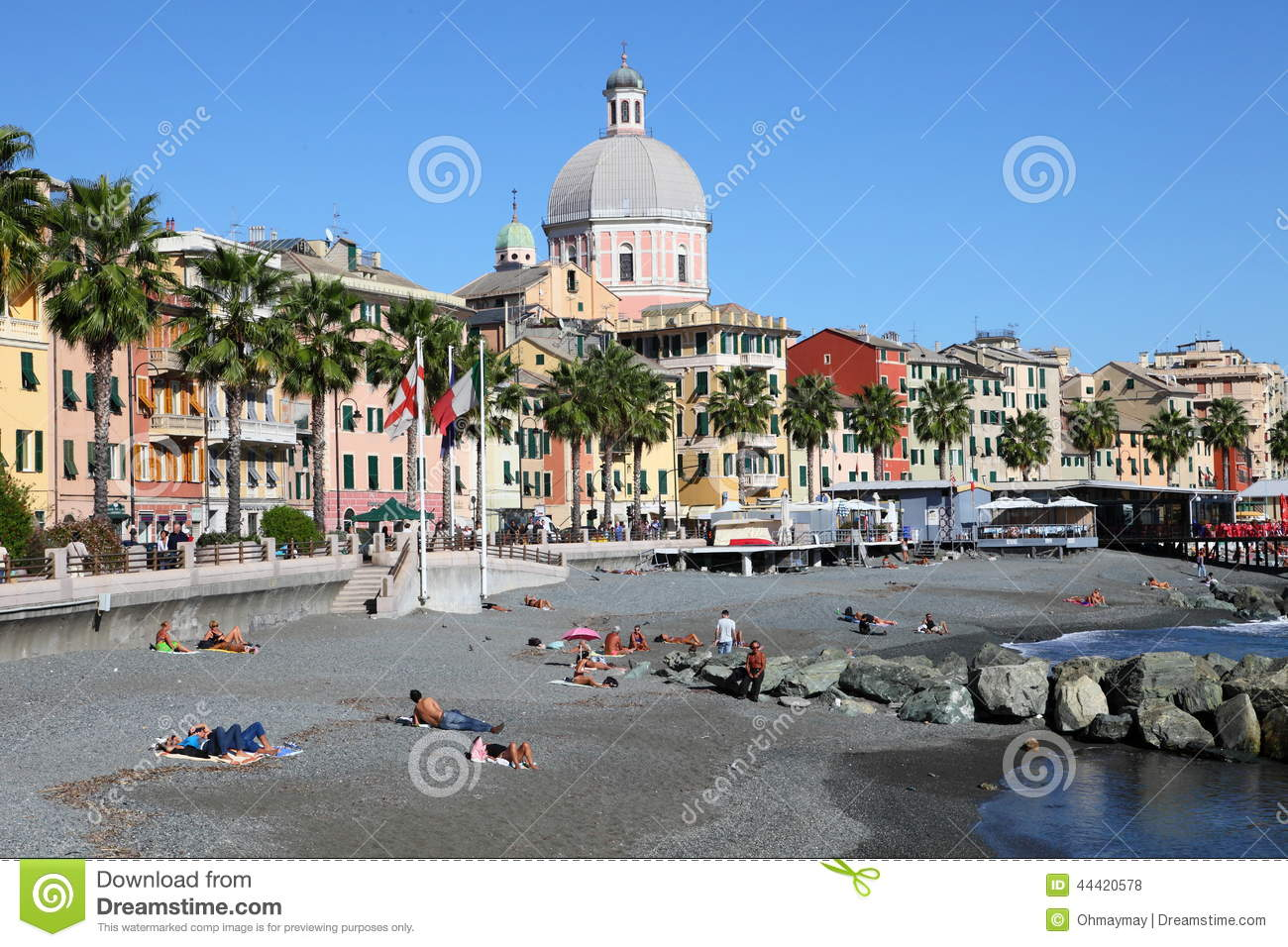 Attractive Download Beach Scene At Pegli In Summer Editorial Stock Photo   Image Of  Sandy, Beach