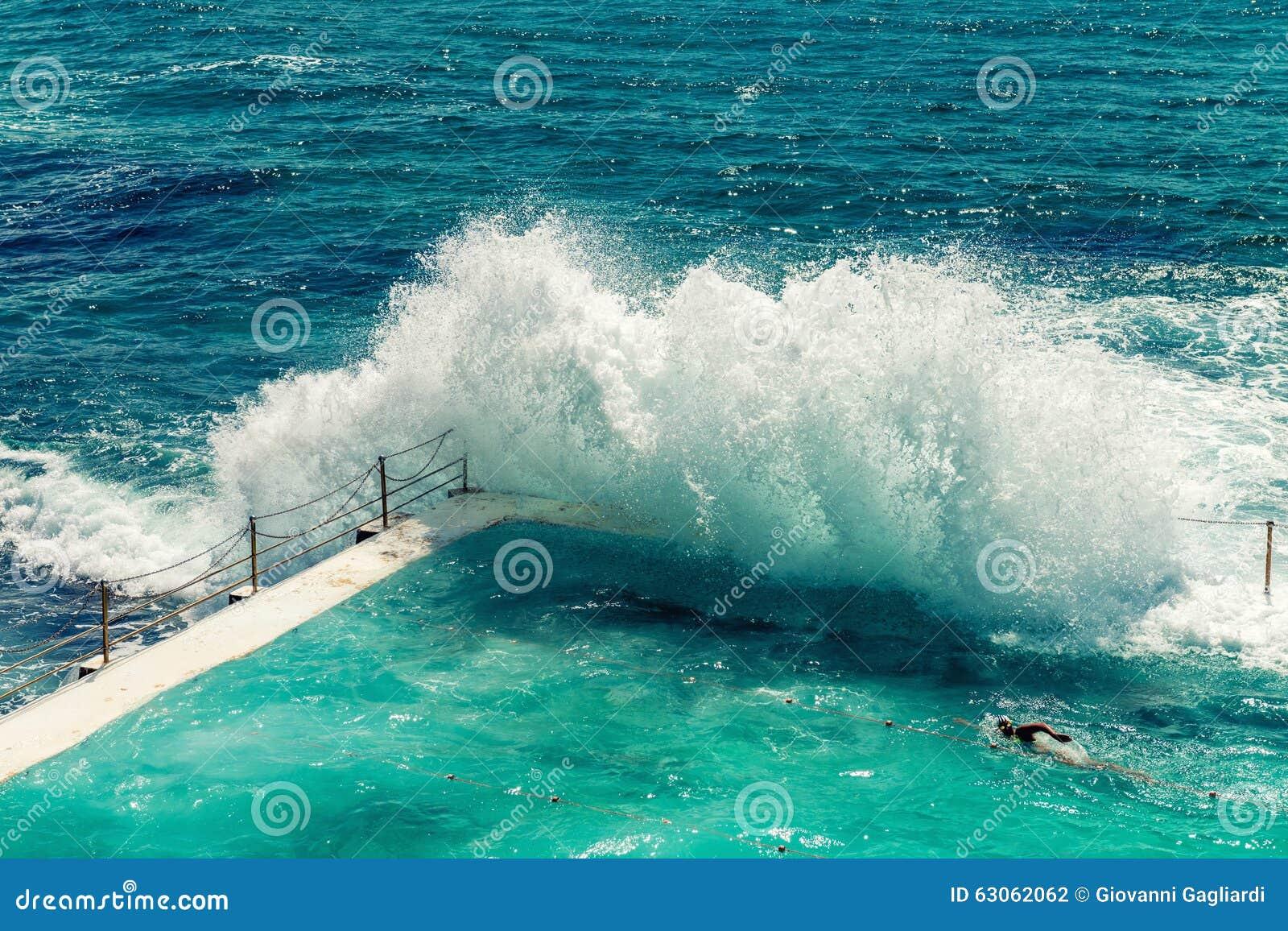 Beach Scene: Rock Swimming Pools Overlooking Tasman Sea In ...