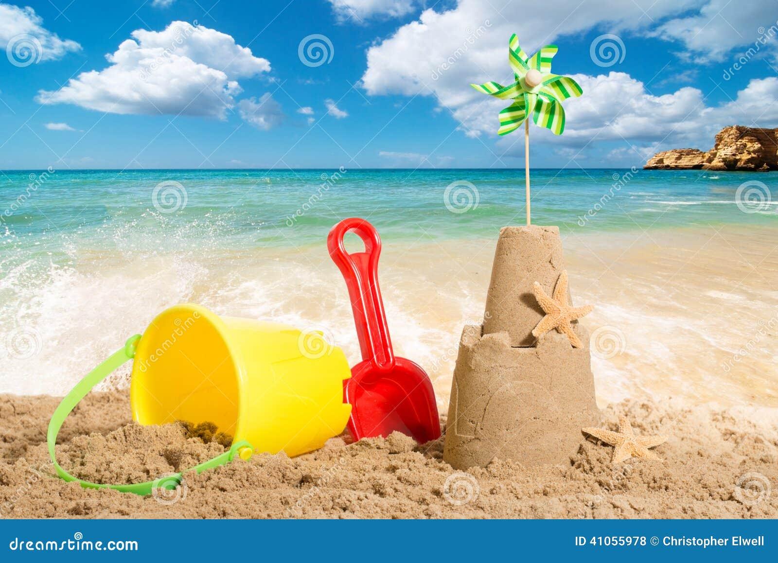 Beach Scene Stock Photo Image Of Retro Ocean Bucket 41055978