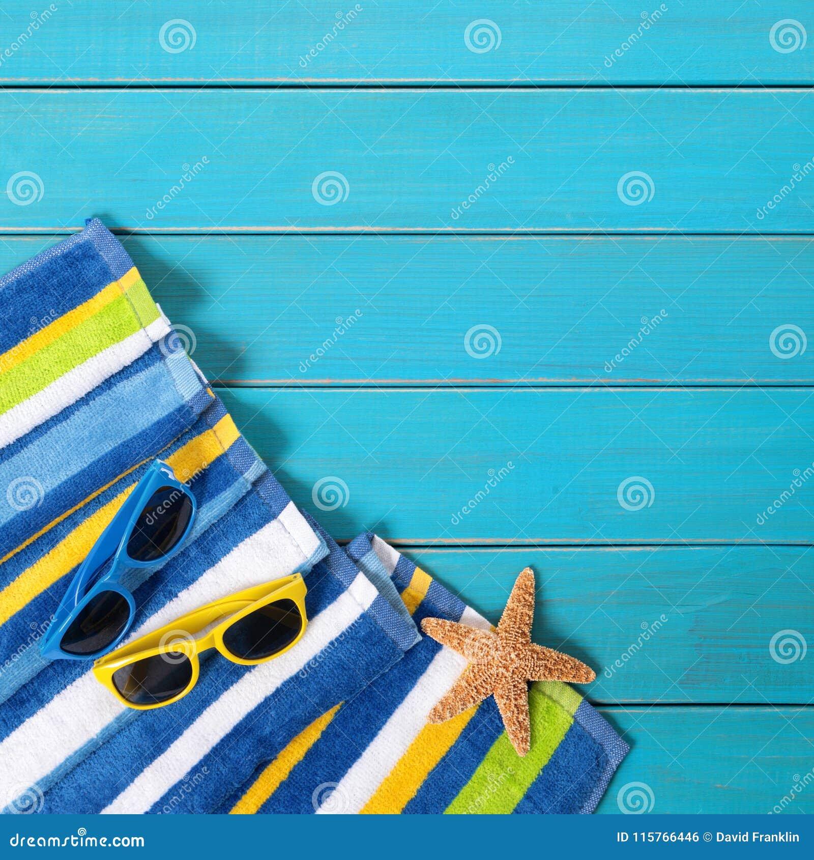 Summer Beach Background Border Blue Decking Sunglasses