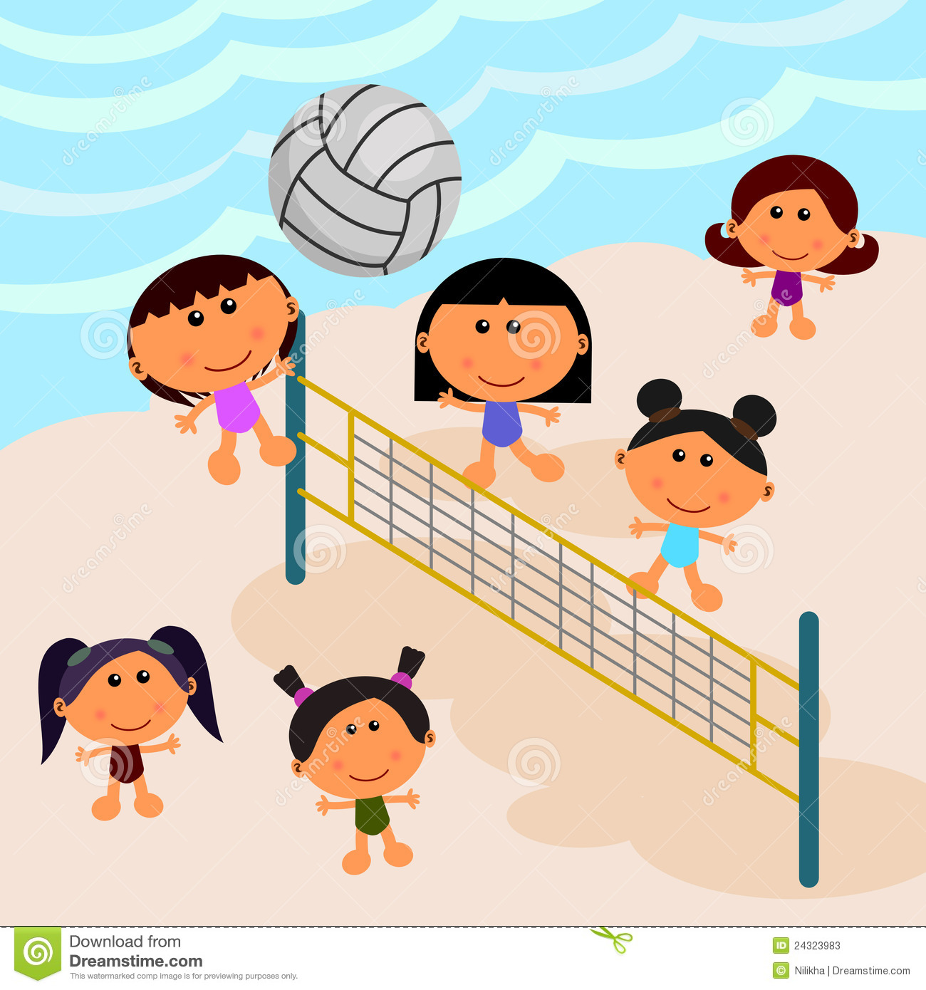 Beach Scene With Volleyball Stock Photos Image 24323983
