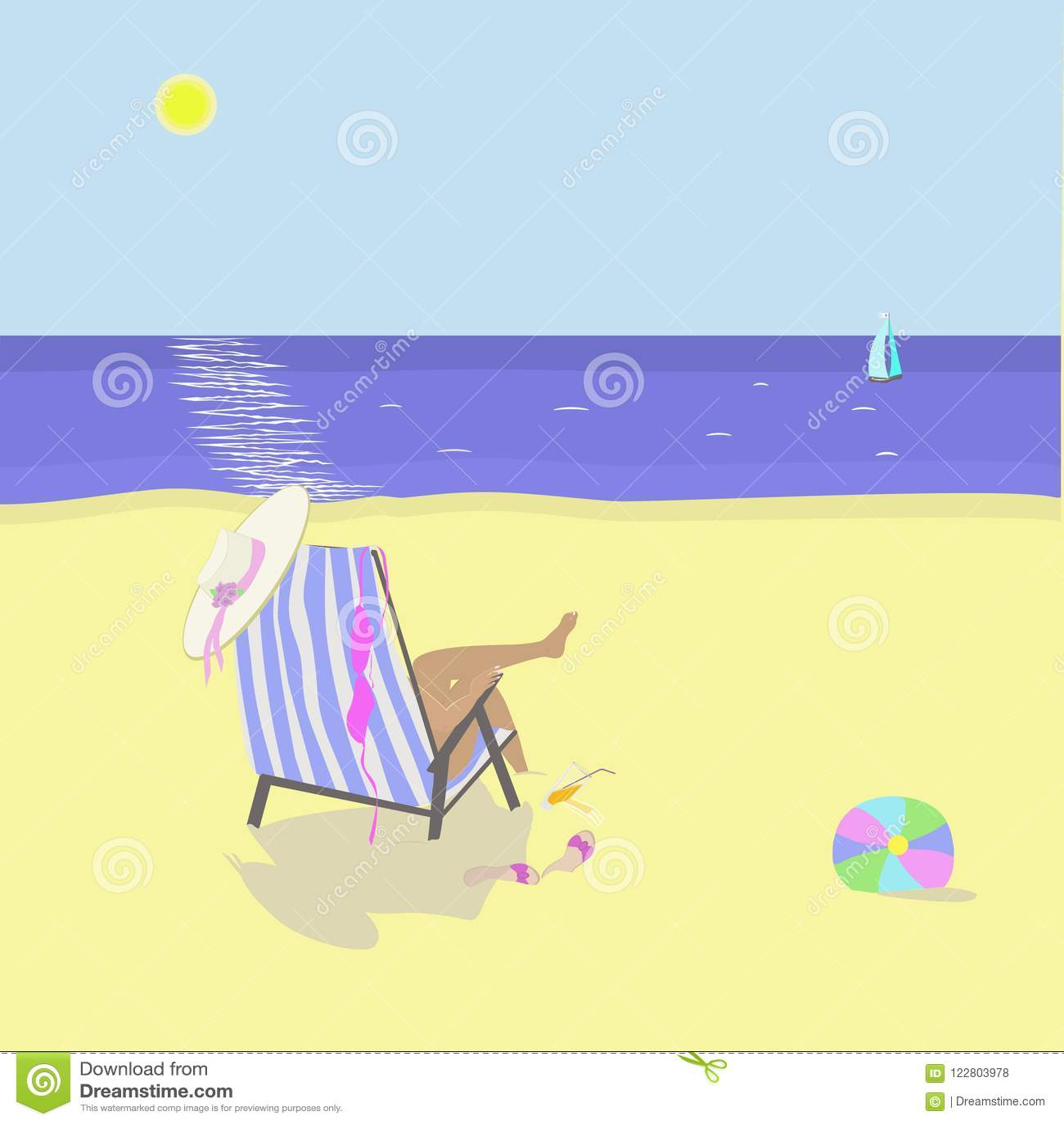 Beach scene. Woman relaxing in chaise-longue.